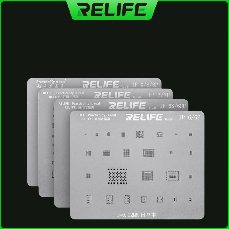 RELIFE CPU RAM A8/A9/A10/A1/A12 IC Chip BGA Reballing Stencil Plant Tin Steel Mesh For iPhone 6/6P/6S/6SP/7G/7P/8/8P/X/XS max 10pcs 1608a1 1610a1 1610a2 1610a3 610a3b 1612a1 for iphone 5g 5s 5c 6 6p 6s 6splus 7g 7p 8 8p x u2 charger ic usb charging chip