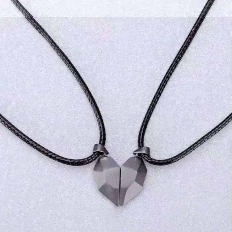 Magnetic Couple Necklace Geometric Heart Shape Wishing Stone Charm Fashion Jewelry Rope O Chain For Men Women  - buy with discount