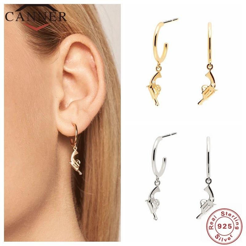 Canner 925 prata esterlina brincos para mulheres rua legal mini pistola brinco piercing brincos jóias pendientes