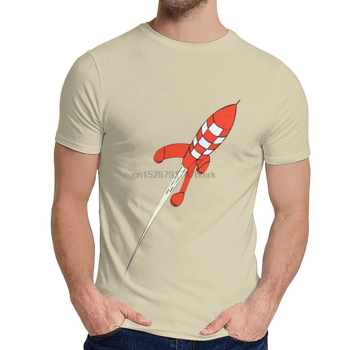 Camiseta de Tintin de algodón para hombre, Camiseta de Tintín The Adventures Of Moon, de destino, de algodón suave, Camiseta de cuello redondo a la moda para verano