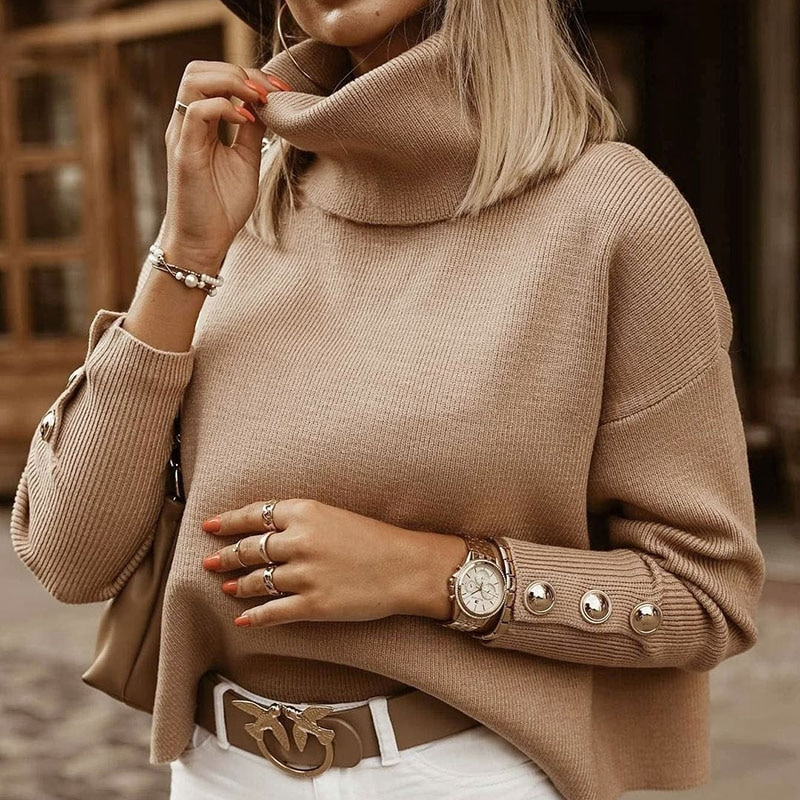 Plus Size Womens Sweaters 2021 Fashion Women's Turtleneck Pullovers Button Long Sleeve Loose Knitted Sweater Tops for Women