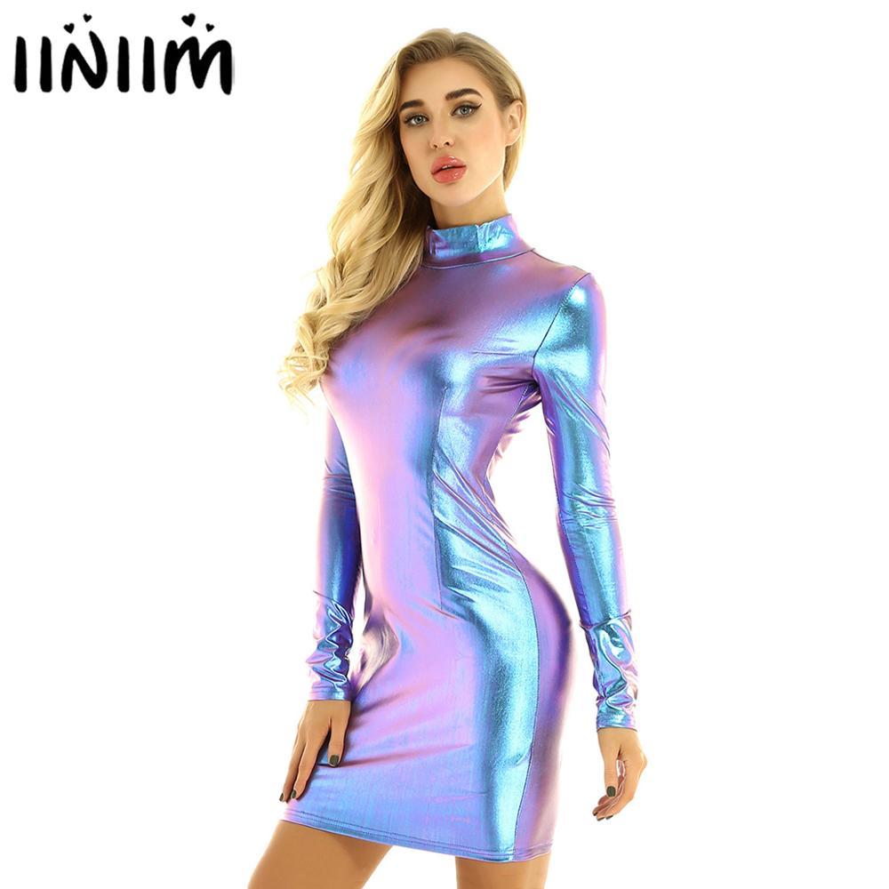 Mulheres femme noite festas bodycon vestido brilhante metálico holográfico vestido de dança mangas compridas mini vestido fino robe femme clubwear
