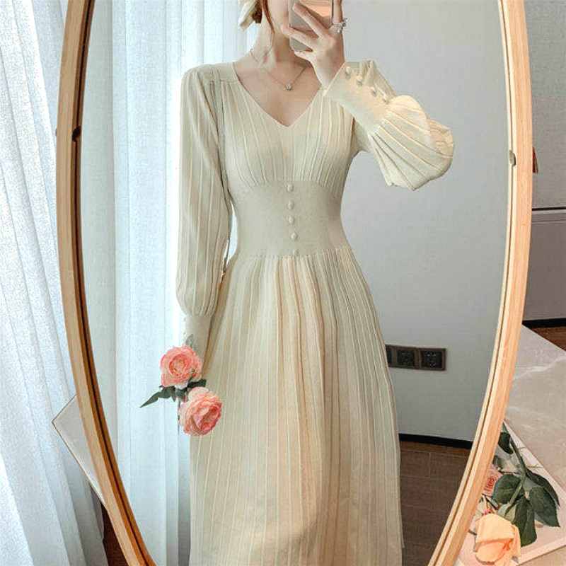 Long Sleeve Office Sweater Dress Female V-Neck Button Korean Style Autumn Chic Women 2021 Casual Winter Knitted One Piece Dress