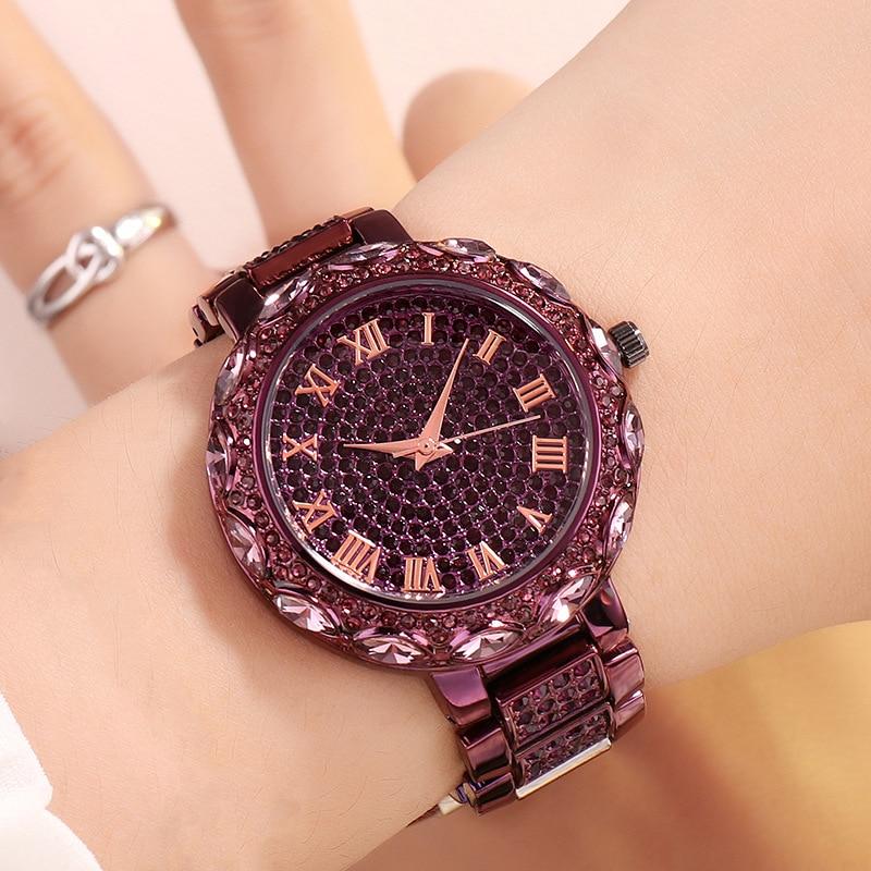 New Good-Looking Bling Diamond Set Women's Watch Rose Gold Fashion Elegant Hand Watch Waterproof Gift Watch enlarge