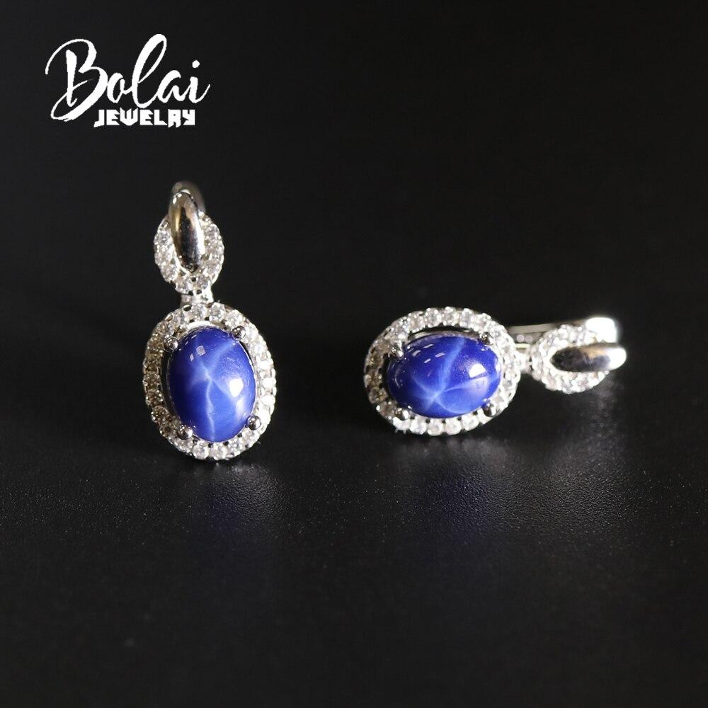 Fecho brinco criado starlight safira oval 6*8mm com 925 belas jóias de prata para o presente de menina bolaijewelry promoção