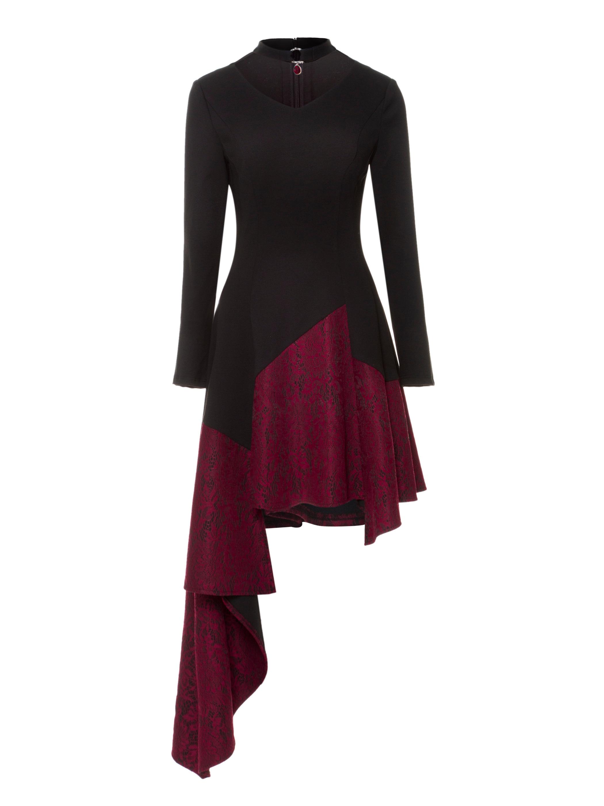 Rosetic moda diseñador de encaje vestido de fiesta mujeres remiendo con huecos asimétrico Hem negro Midi Vestidos Vintage gótico Vestidos Zip