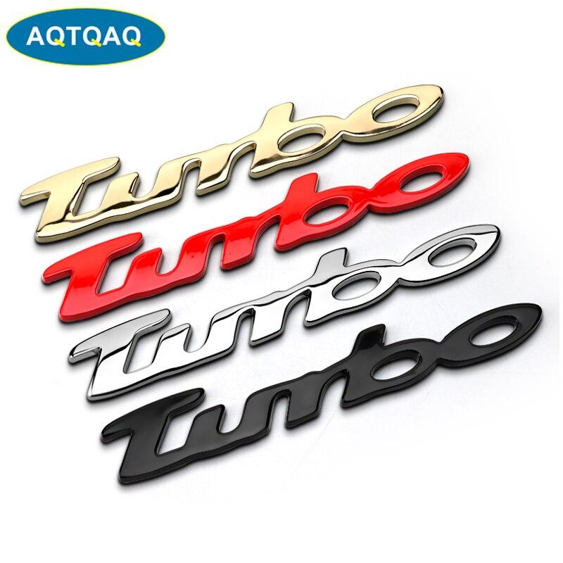 1Pcs 3D Metal TURBO Car Side Fender Rear Trunk Emblem Badge Sticker Decals for JEEP Dodge  BMW Mustang Volvo Chevrolet