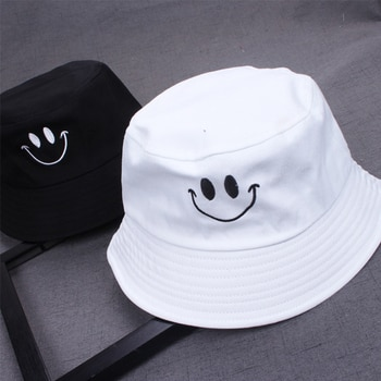 1PC Women Smile Bucket Hat Double Sided Bucket Hat Smiling Face Unisex Fashion Bob Cap Hip Hop Gorro Men Summer Cap
