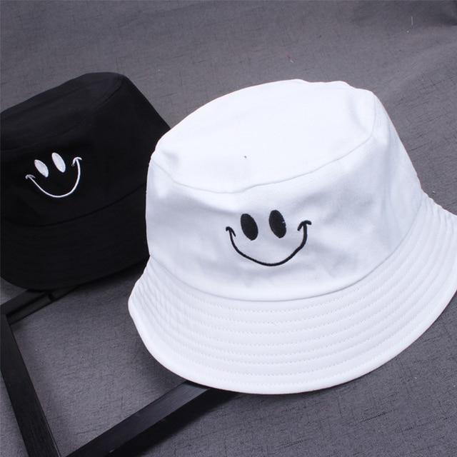 1PC Women Smile Bucket Hat Double Sided Bucket Hat Smiling Face Unisex Fashion Bob Cap Hip Hop Gorro Men Summer Cap