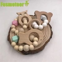 fosmeteor wooden baby bracelet animal shaped jewelry teething for organic wood silicone beads baby rattle toys accessories gift