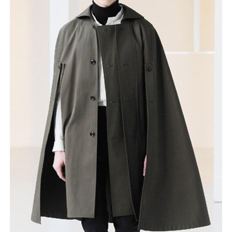 Herbst und winter männer lange abschnitt lose revers einreiher woolen fledermaus mantel mantel mantel mantel shirt trend