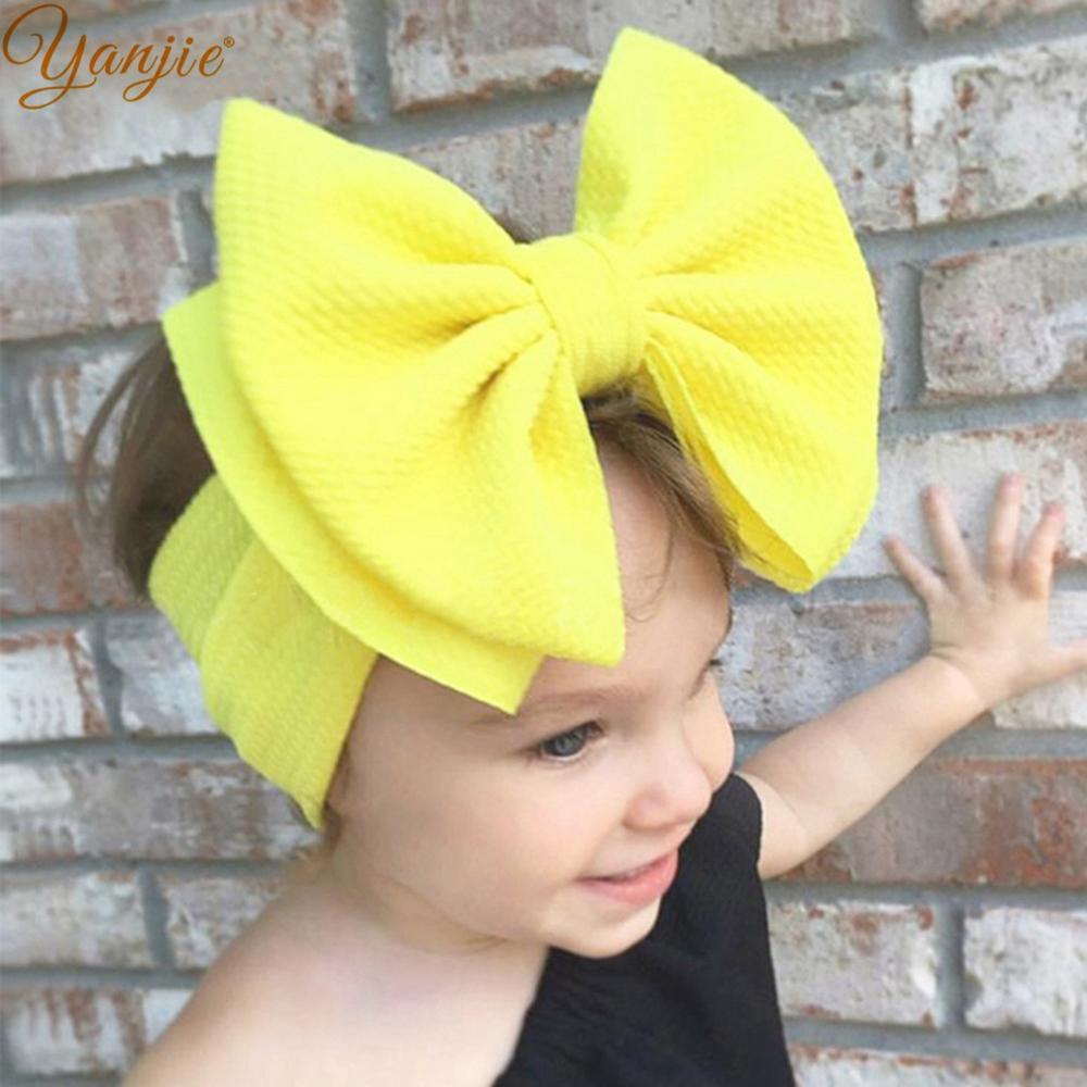7'' Large Double Layer Hair Bow Headband Girls 2020 Hot Sale Elastic Hair Bands Kids Solid Turban Head Wrap Hair Accessories