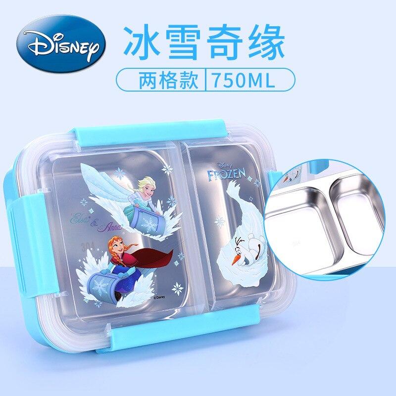 Original Disney Children's Tableware Lunch Box Cartoon Sealed Two Grid 304 Stainless Steel Lunch Bento Box