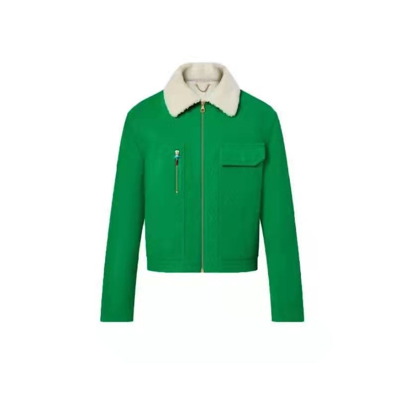 2021 New Autumn & Winter Green Tooling Denim Jacket with Detachable Wool Collar and Tooling Style Pocket Slim Jacket S-XL