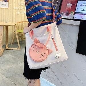 Japanese Harajuku Cute cat shoulder bag Girl messenger bag panelled Student schoolbag waterproof nylon Fashion Art Crossbody Bag