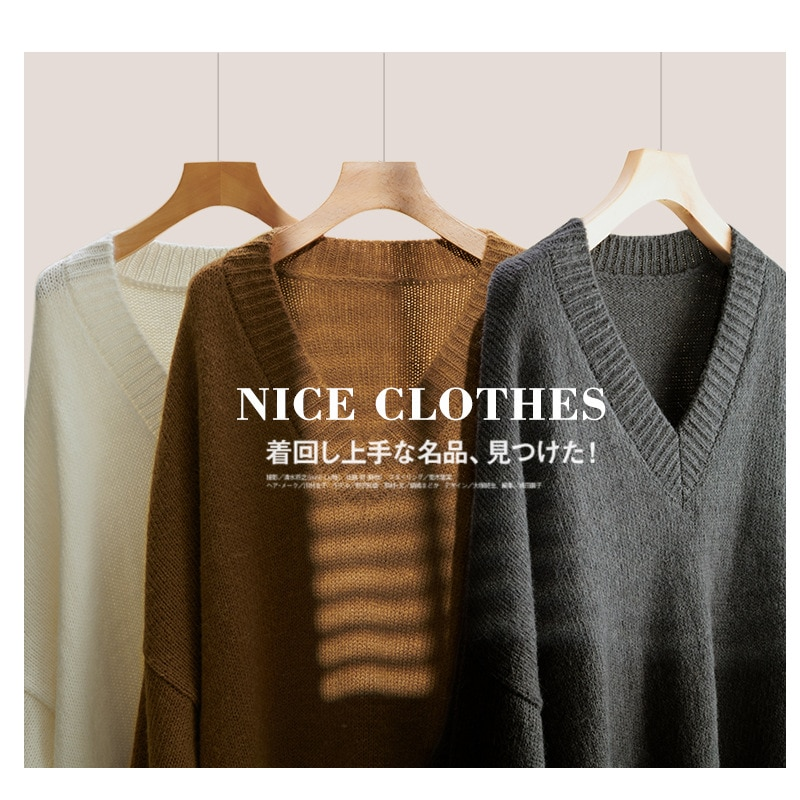 Shuchan Wool Blend Knit Sweater Long Pullover Autumn Winter New V-Neck Sexy & Club Thick Free Shipping Items Clothes for Women enlarge