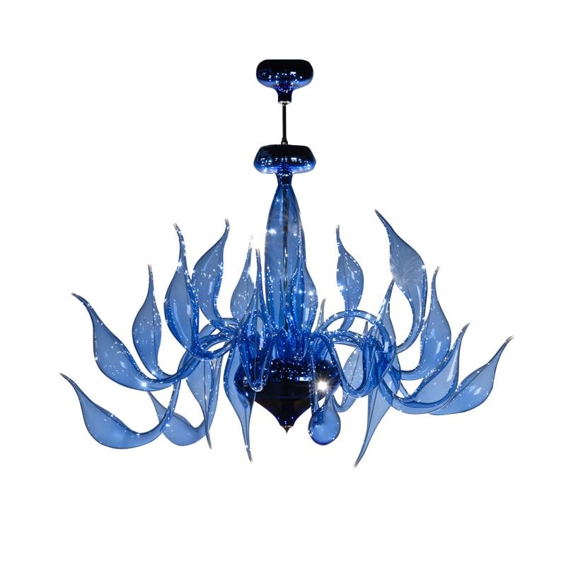 إيطاليا سوان الثريا الحديثة مورانو الثريات الإبداعية فن الزجاج الثريا ضوء 24 رئيس (أزرق شفاف) شحن مجاني