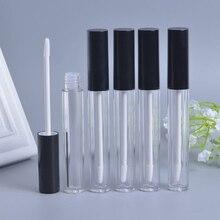 10 pièces 5ml Tubes de brillant à lèvres vides contenant de lhuile à lèvres flacon de brillant à lèvres vide Tube de brillant à lèvres rond avec bouchon noir bouteilles rechargeables