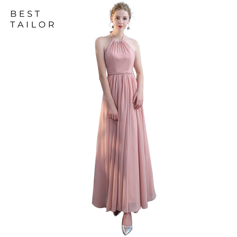 Blush Bridesmaid Dresses 2021 Long Chiffon Formal Wedding Guest Gowns vestidos de fiesta de noche Dusty Maid of Honor Gown