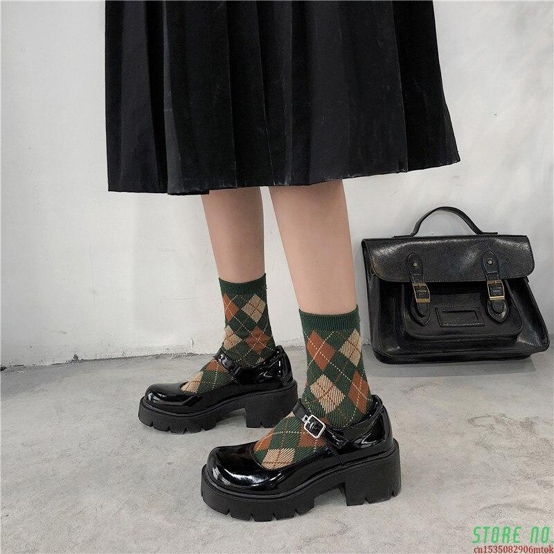 Sapatos de Couro de Patente Primavera Outono Mary Jane Sapatos Femininos Fivela Cinta Salto Alto Retro Plataforma Lolita Mulher