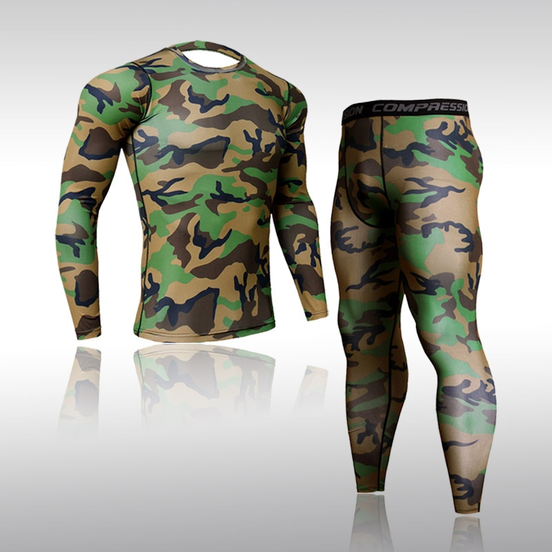 New Top Quality Camouflage Compression Clothing Men Underwear Sets Sweat Quick Drying Thermal Underwear Male Sportswear Tights top quality new thermal underwear men underwear sets compression fleece sweat quick drying thermo underwear men clothing s 3xl
