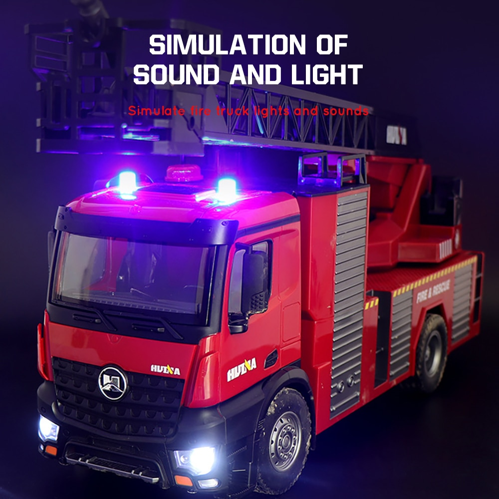 Huina 561 1/14 Rc Fire Truck Water Spray Car Ladder 22 Ch 2.4G Radio Controller Machine On Remote Control Toys Car for Boy Kids enlarge