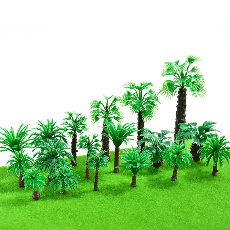 10 unids/lote Mini paisaje modelo palmeras árbol para pecera decoración verde plantas verdes de coco paisaje