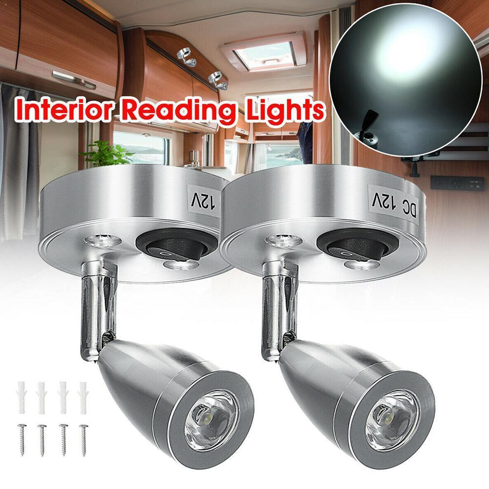 DC12V 3W 6000K cold white LED Spot Reading Light RV Camp Boat Lamp Interior Lighting Bedside Caravan Trailer Home Wall Boat G3L7