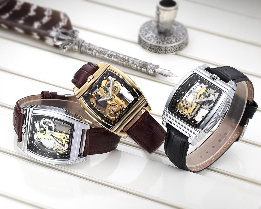 Business Turbullion Automatic Mechanical Watch for Men Golden Luxury Tonneau Shaped Dial Luminous Brown Male Winding Wristwatch enlarge