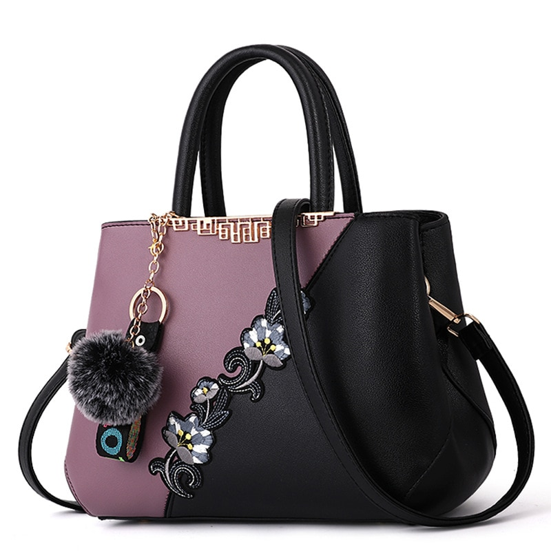 Embroidered Messenger Bags Women Leather Handbags Bags for Women 2020 Sac a Main Ladies Hand Bag Fem