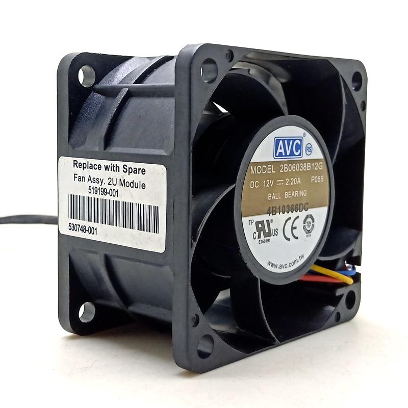 Ventilador de 60mm pwm AVC 6038 12V ventilador de alta velocidad de doble bola 2B06038B12G 6cm ventilador de alimentación del servidor de la computadora