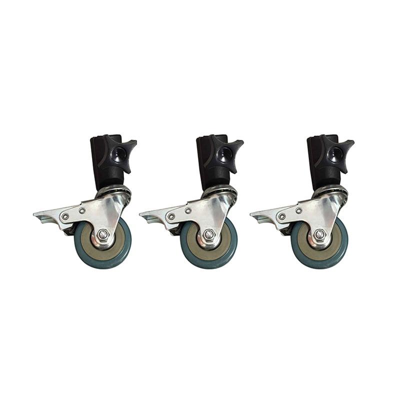 3PCS 22mm Photo Studio Universal Caster Wheel Tripod Pulley Heavy Duty for Light Stands/Studio Boom