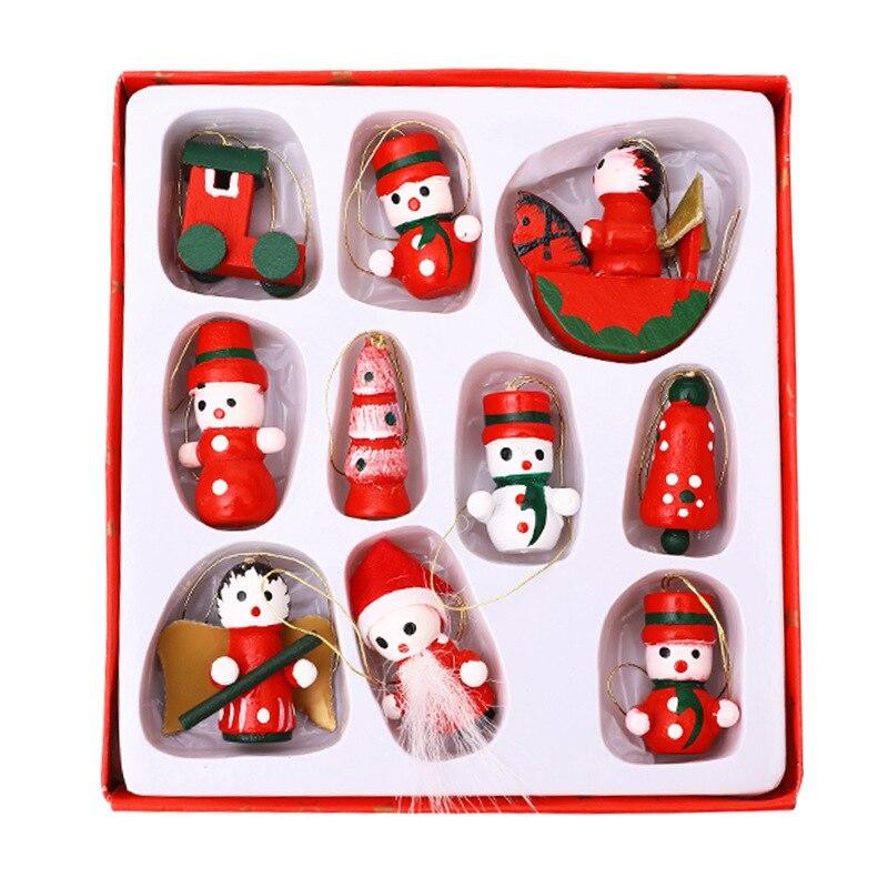 Adornos de madera para decoración de árbol de Navidad, minimuñecos de Papá...