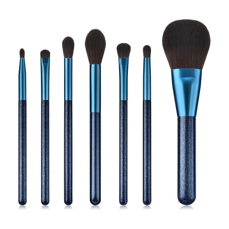 Juego profesional de pinceles azules de maquillaje de zafiro, juego de herramientas para maquillaje en polvo, sombra de ojos, maquillaje