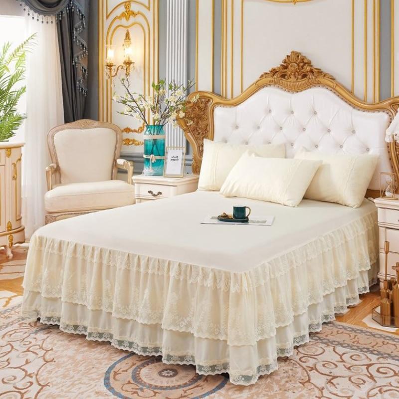 غطاء سرير من الدانتيل مع 3 طبقات ، تنورة سرير مكشكشة ، غطاء سرير لغرفة النوم ، تنورة غير قابلة للانزلاق