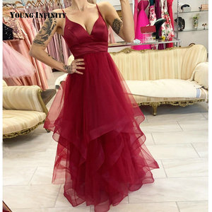New Arrival Wine Red Floor Length Prom Dress Sweetheart Spaghetti Strap Ruffles Tiered Sweep Train A Line Party Gown 2021