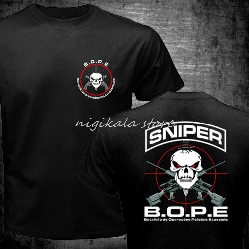 BOPE Tropa De Elite Sniper Unit Scout Brasil Fuerzas Especiales camiseta hombres dos lados regalo Casual tee USA tamaño S-5XL