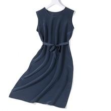 Women's 100% Pure Silk CDC Fabric Long Dress Crew neck Sexy sleeveless Solid Colors M L XL 2XL  JN347