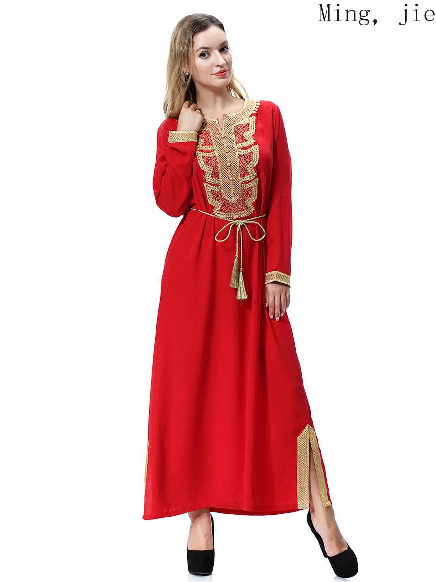 Muslim Arab Middle East Dubai Saudi Southeast Asia Women's Robe Long Skirt Dress Embroidery Luxury