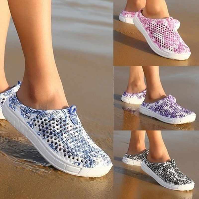 Newbeads Women's Slip On Crocks Hole Shoes Garden Shoes for Women Sandals Beach Flat Slippers Hollow Out Breathable Shoes