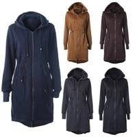 zogaa 2021 autumn winter women casual long zipper hooded jacket hoodies sweatshirt vintage plus size outwear hooded coat parka