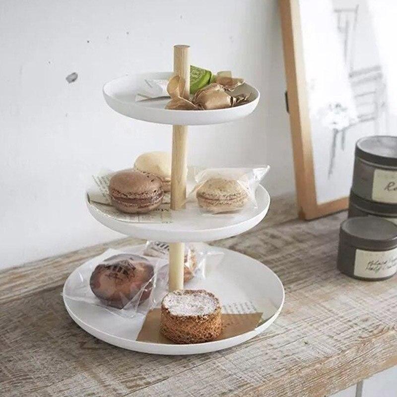 NHBR-3 Tier Cake Stand Serving Tray Fruit Platter Elegant Wedding Cupcake Holder Wooden Metal Cheese Dish Table Baking Tool