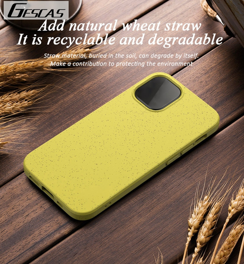 GESCAS Eco-Friendly Wheat Straw Soft TPU Phone Case For IOS Phone 12 Mini Pro Max Case Candy Color Shockproof Back Cover