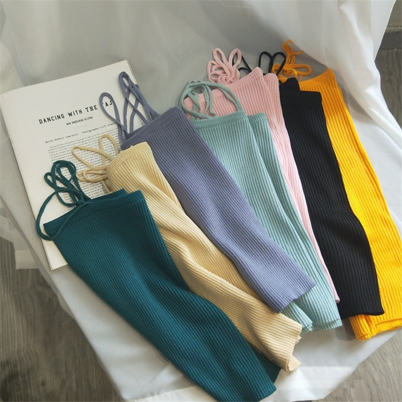 Camisola de malha de malha feminina 2020 primavera verão coreano de malha topos de moda feminina sólida camis tank topo de moda para meninas