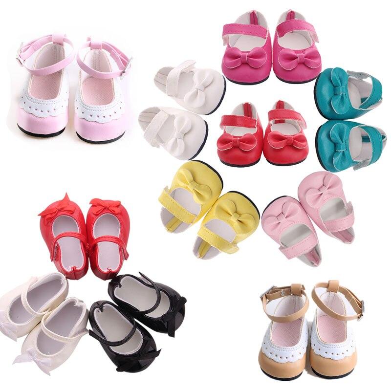 Puppe 14 Styles Nette Muster Leder Schuhe Für 18 Zoll American & 43 Cm Geboren Baby, Generation, russische DIY Spielzeug Geburtstag Mädchen Geschenk