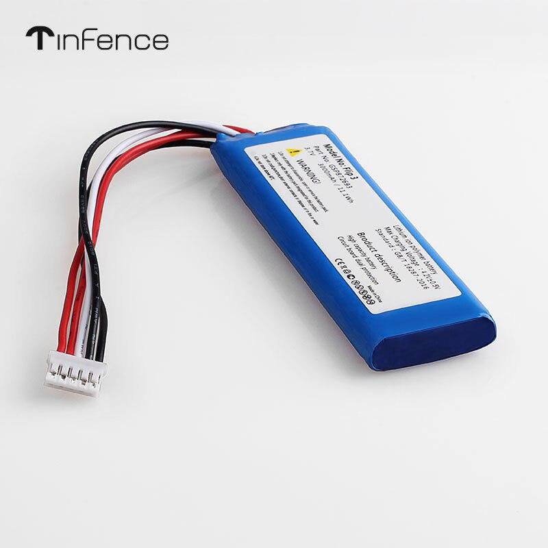 Tinfence 3,7 V 3000mAh batería para JBL Flip 4 3 7,4 V 5000mAh Xtreme gris Li recargable de polímero de Altavoz Bluetooth GSP872693