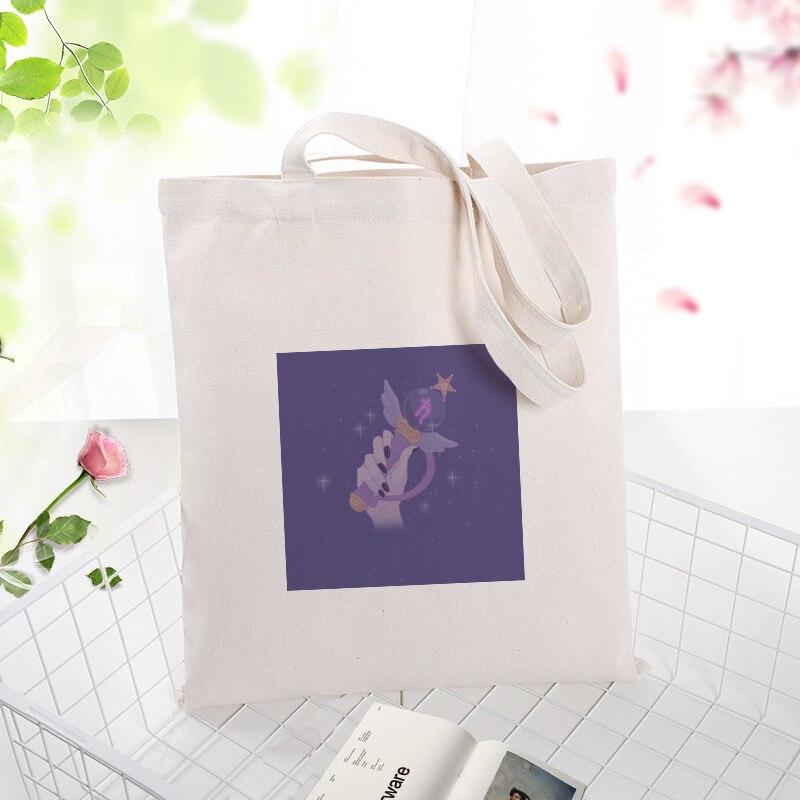 Serie púrpura, bolso de mano, bolso de compras de lona, impresión personalizada, texto de logotipo DIY, uso diario, Eco ecológico, reutilizable, reciclable