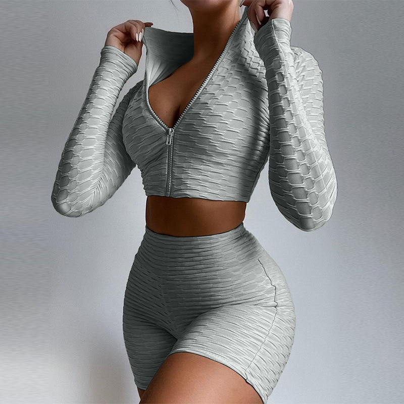 Workout Sets for Women 2 Piece Textured Tracksuits Outfits Long Sleeve Zipper Crop Tops Yoga Shorts