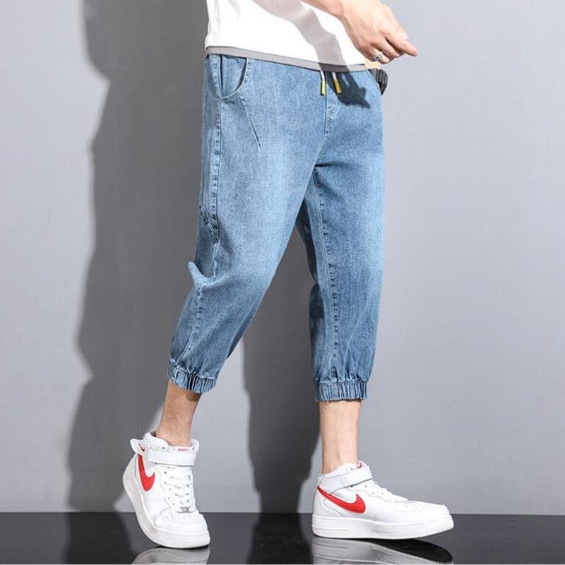 2021 популярный стиль модные мужские джинсы мужские свободные, модный бренд, распродажа, штаны-шаровары укороченные брюки, подходят под все к...