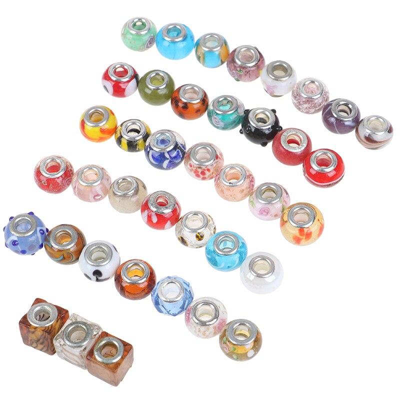 100 unids/set, cuentas de cristal, lámpara, abalorio, grandes cuentas con orificio, cuentas europeas